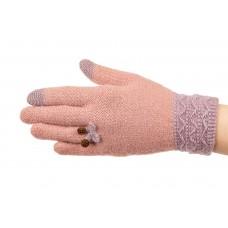 На фото 1 - Шерстяные перчатки женские с Touch Screen и декором, цвет розовый