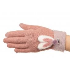 На фото 1 - Вязаные перчатки женские с Touch Screen, цвет пудрый