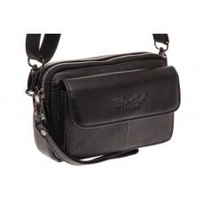 На фото 1 - Маленькая мужская сумка на пояс из натураль...