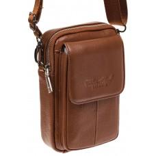 На фото 1 - Маленькая мужская сумка из натуральной кожи, цвет рыжий