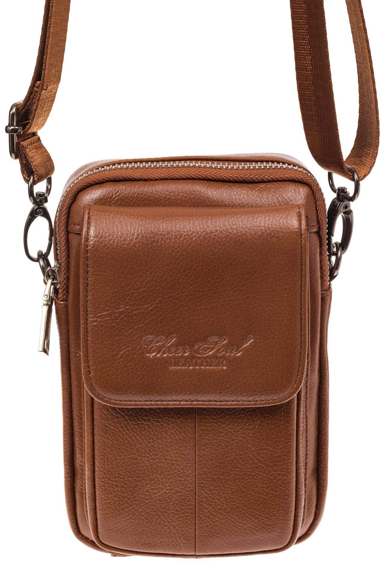 На фото 2 - Маленькая мужская сумка из натуральной кожи, цвет рыжий