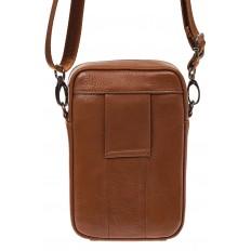 На фото 3 - Маленькая мужская сумка из натуральной кожи, цвет рыжий