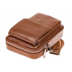 На фото 4 - Маленькая мужская сумка из натуральной кожи, цвет рыжий
