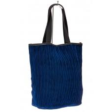 На фото 1 - Сумка-мешок женская из ткани, цвет синий