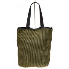 На фото 2 - Сумка-мешок женская из текстиля, цвет зеленый