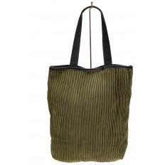 На фото 3 - Сумка-мешок женская из текстиля, цвет зеленый