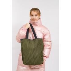 На фото 5 - Сумка-мешок женская из текстиля, цвет зеленый