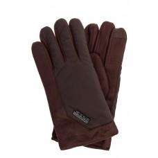 На фото 1 - Утепленные перчатки мужские с декором из металла, цвет коричневый