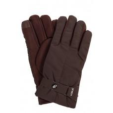 На фото 1 - Утепленные перчатки мужские с хлястиком, цвет коричневый