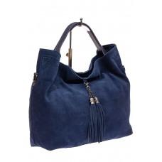 На фото 1 - Большая сумка тоут из натуральной замши, цвет синий