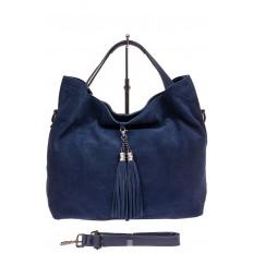 На фото 2 - Большая сумка тоут из натуральной замши, цвет синий