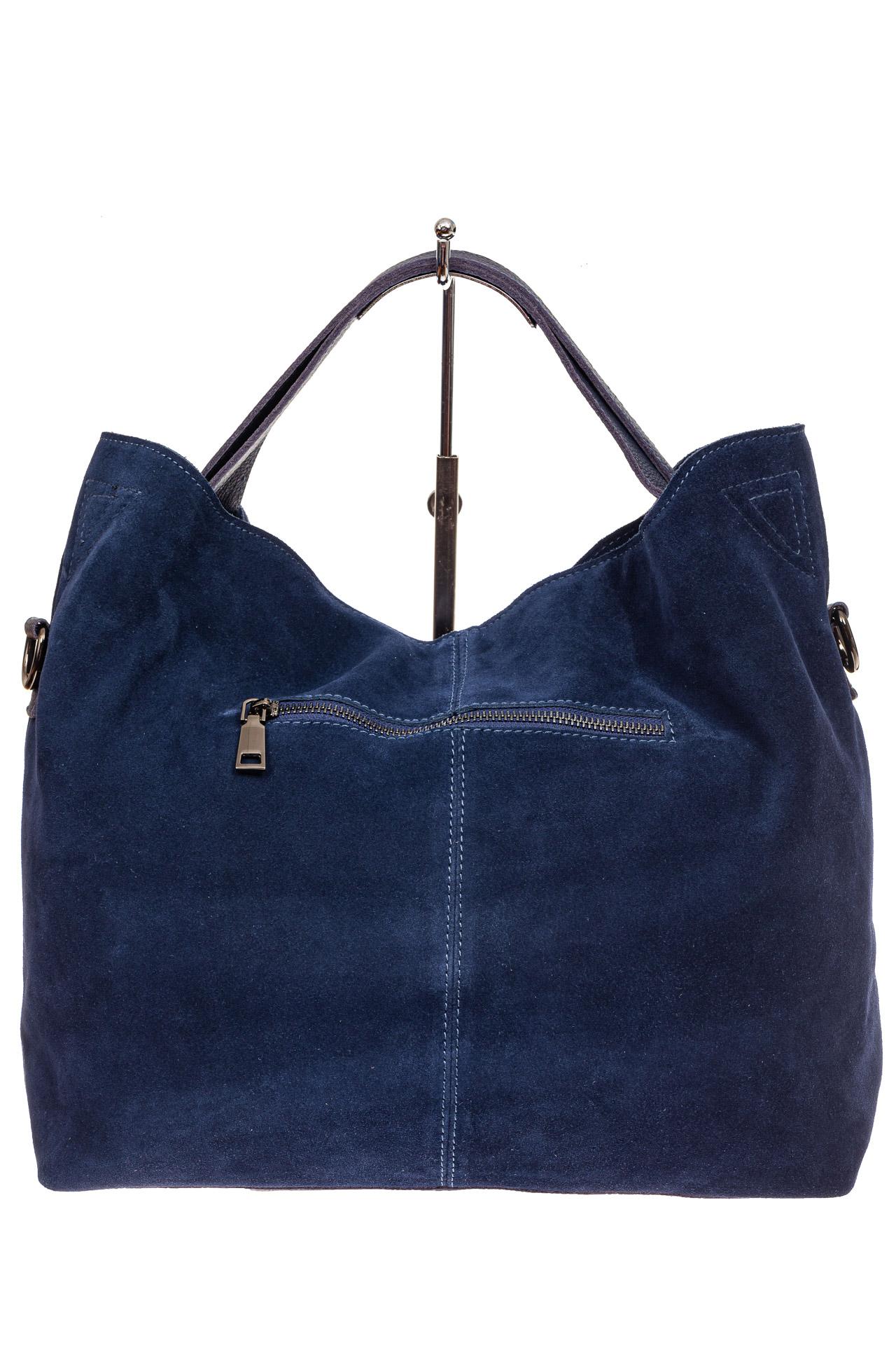 На фото 3 - Большая сумка тоут из натуральной замши, цвет синий