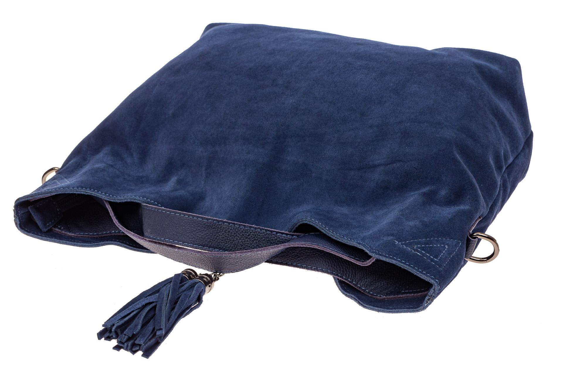 На фото 4 - Большая сумка тоут из натуральной замши, цвет синий