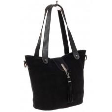 На фото 1 - Замшевая сумка шоппер, цвет черный