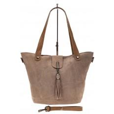 На фото 2 - Замшевая сумка шоппер, цвет бежевый