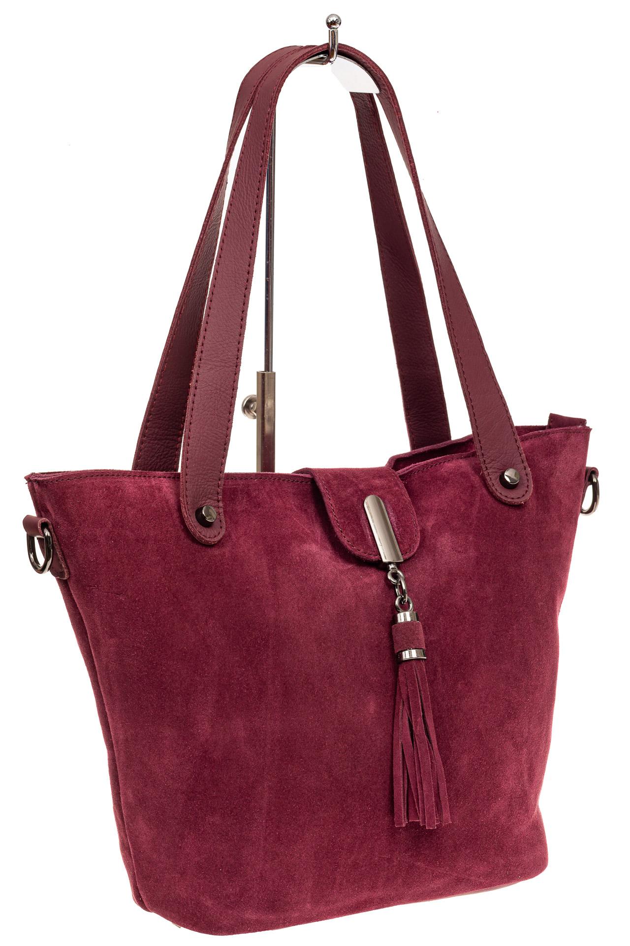 Замшевая сумка шоппер, цвет бордовыйA8006ZN8/4