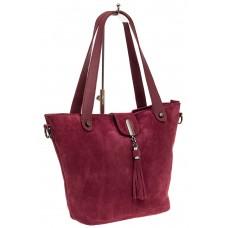 На фото 1 - Замшевая сумка шоппер, цвет бордовый
