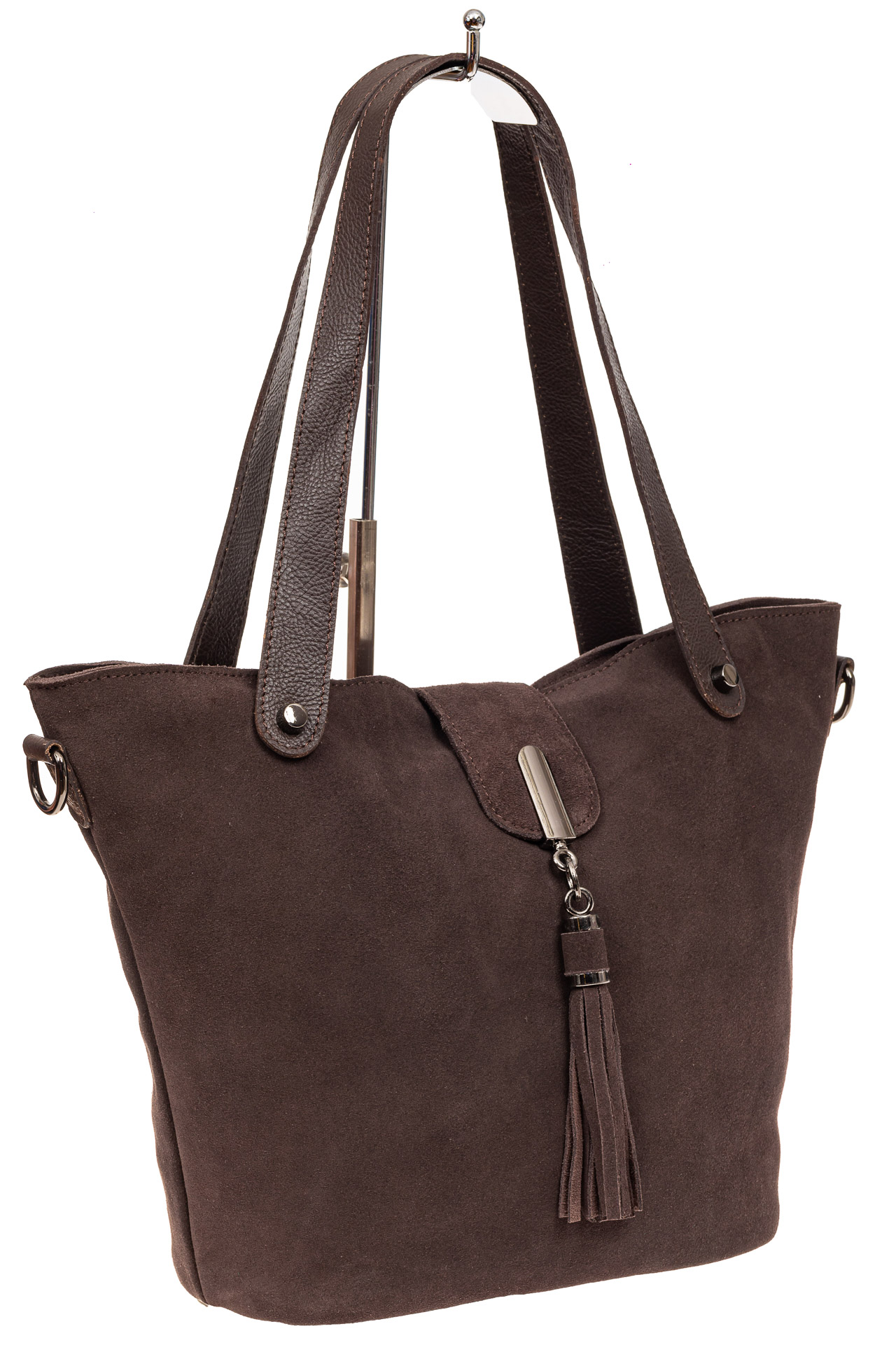 Замшевая сумка шоппер, цвет коричневыйA8006ZN8/8
