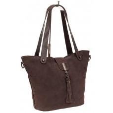 На фото 1 - Замшевая сумка шоппер, цвет коричневый