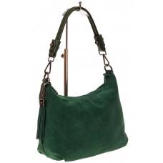 На фото 1 - Небольшая замшевая сумочка, цвет зеленый