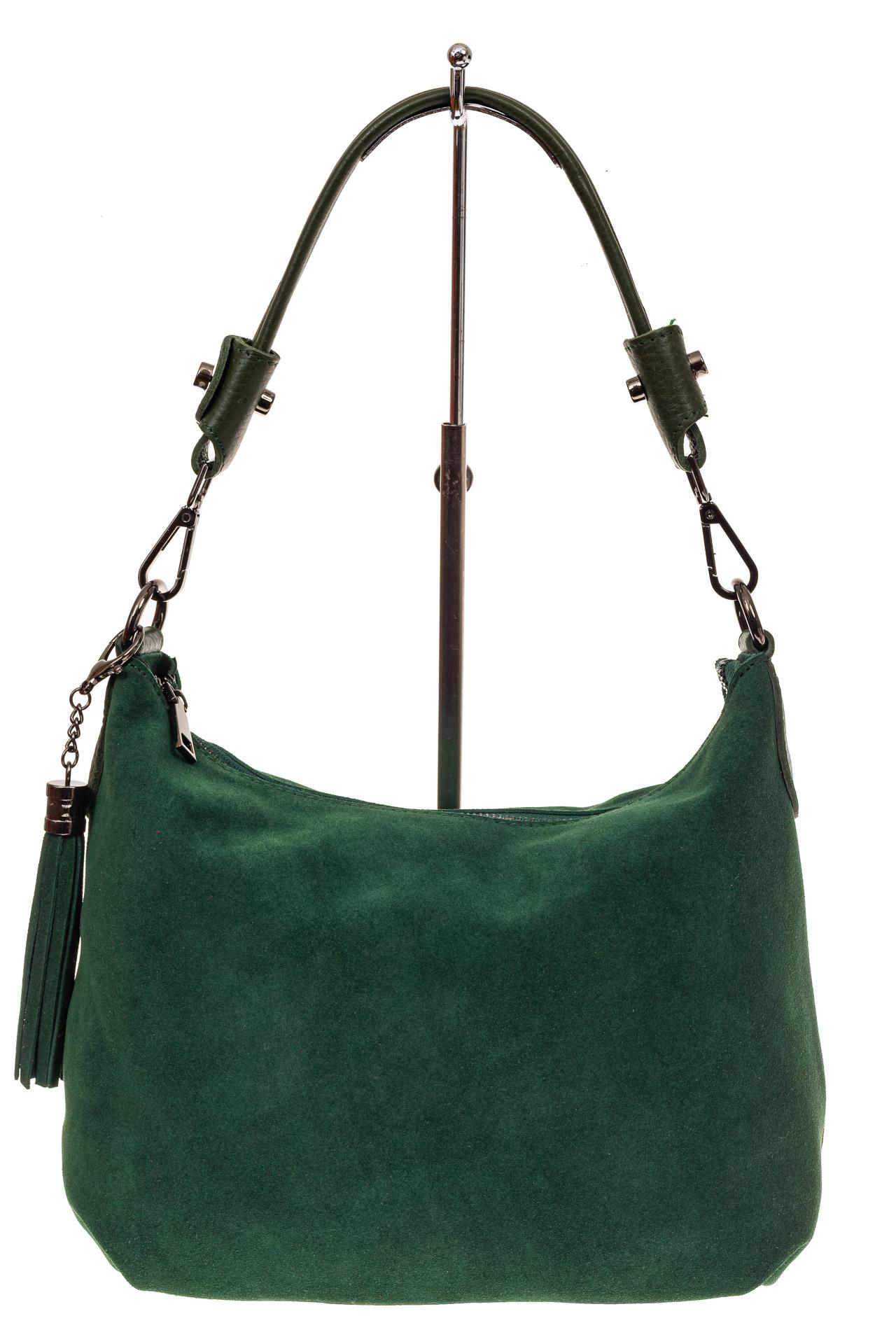 На фото 2 - Небольшая замшевая сумочка, цвет зеленый