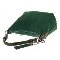 На фото 4 - Небольшая замшевая сумочка, цвет зеленый
