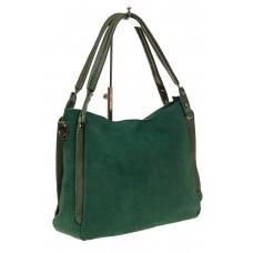 На фото 1 - Сумка шоппер из замши, цвет зеленый