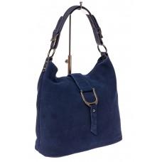 На фото 1 - Замшевая сумка с кожаным ремешком, цвет син...