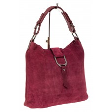 На фото 1 - Женская замшевая сумка с кожаным ремешком, цвет бордовый