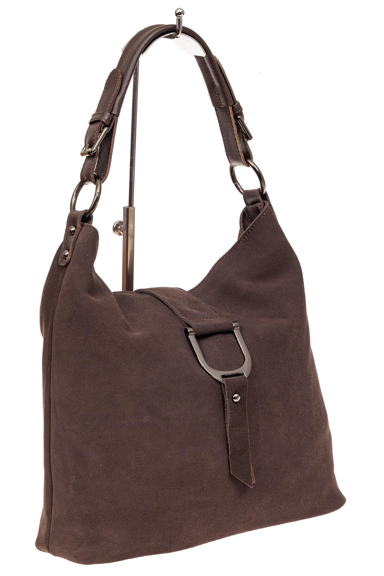 На фото 1 - Замшевая сумка с кожаным ремешком, цвет коричневый