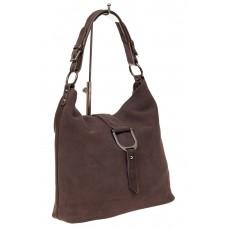 На фото 1 - Замшевая сумка с кожаным ремешком, цвет кор...