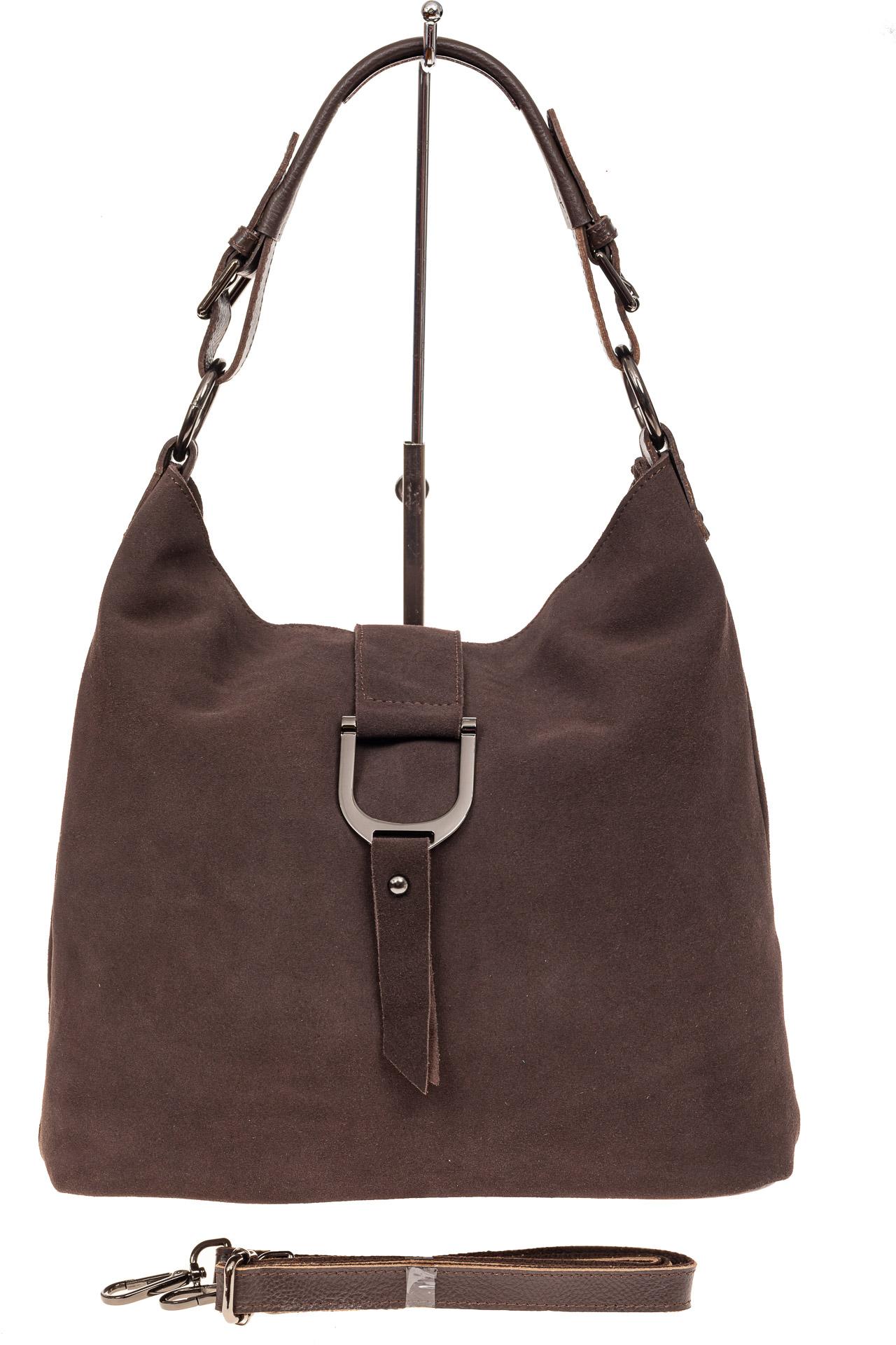 На фото 2 - Замшевая сумка с кожаным ремешком, цвет коричневый
