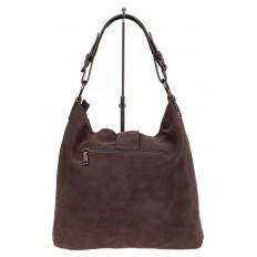 На фото 3 - Замшевая сумка с кожаным ремешком, цвет коричневый