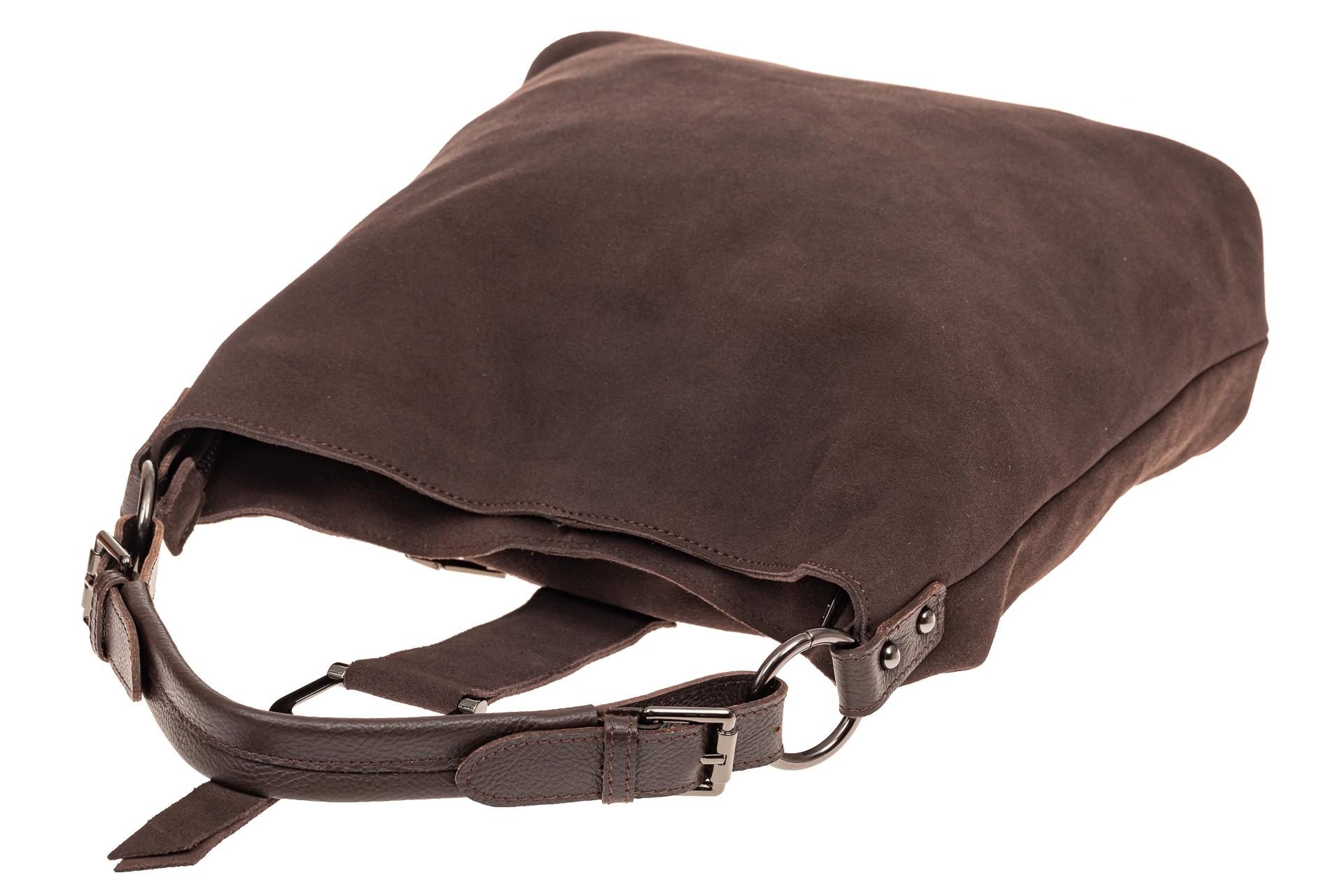 На фото 4 - Замшевая сумка с кожаным ремешком, цвет коричневый