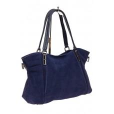 На фото 1 - Большая замшевая сумка, цвет синий