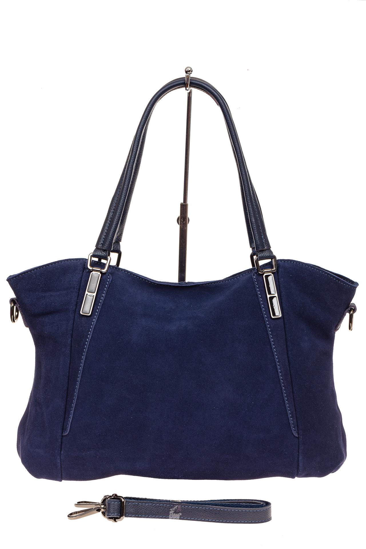 На фото 2 - Большая замшевая сумка, цвет синий