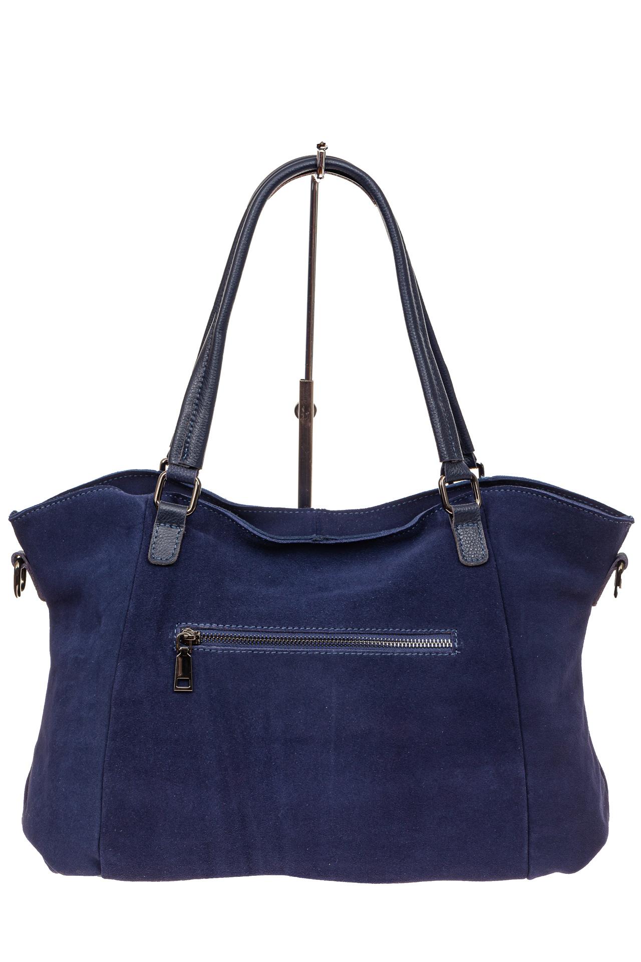На фото 3 - Большая замшевая сумка, цвет синий