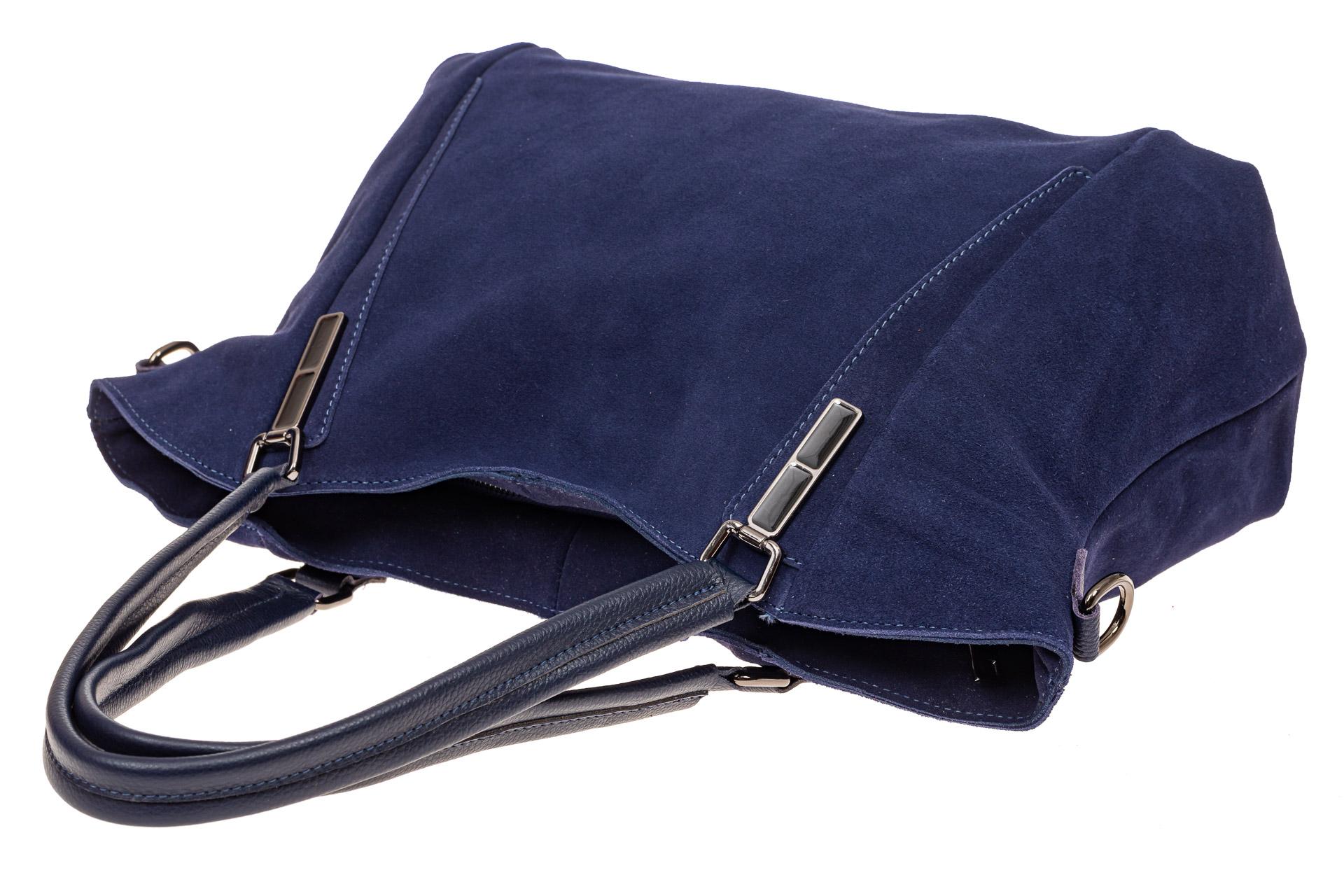 На фото 4 - Большая замшевая сумка, цвет синий