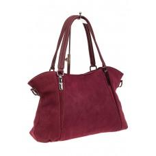На фото 1 - Большая замшевая сумка, цвет бордо