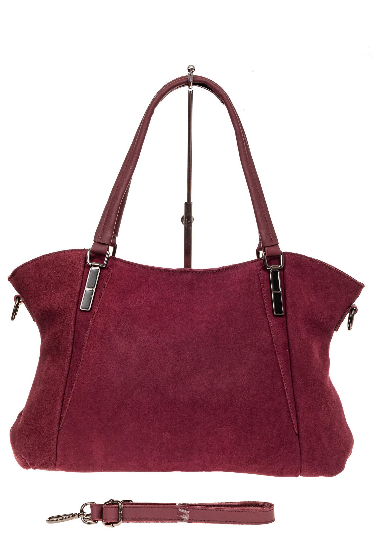 На фото 2 - Большая замшевая сумка, цвет бордо