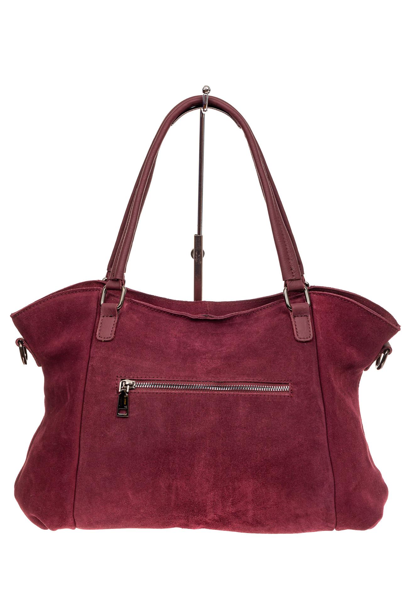 На фото 3 - Большая замшевая сумка, цвет бордо