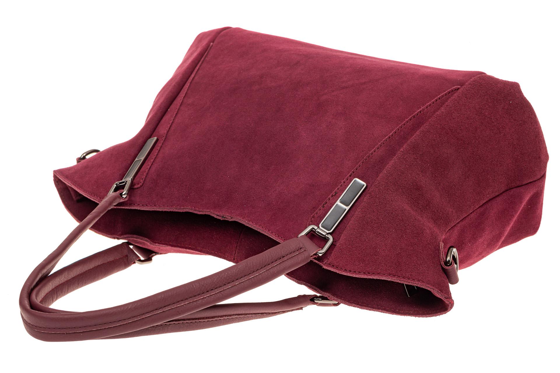 На фото 4 - Большая замшевая сумка, цвет бордо