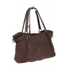 На фото 1 - Большая замшевая сумка, цвет коричневый