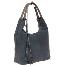На фото 1 - Классическая сумка хобо из замши, цвет серы...