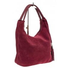На фото 1 - Классическая сумка хобо из замши, цвет борд...