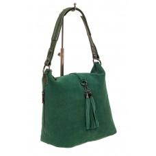 На фото 1 - Небольшая замшевая сумка, цвет зеленый