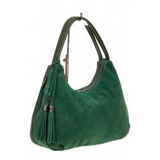 На фото 1 - Большая замшевая сумка хобо, цвет зеленый