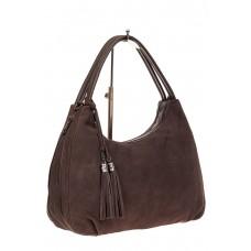 На фото 1 - Большая замшевая сумка хобо, цвет коричневы...