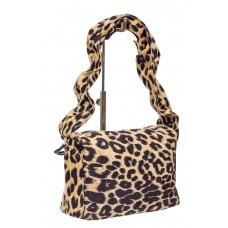 На фото 1 - Сумка женская из текстиля с принтом леопард, цвет бежевый