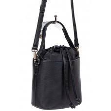 На фото 1 - Женская сумка-ведро из экокожи и текстиля, цвет чёрный